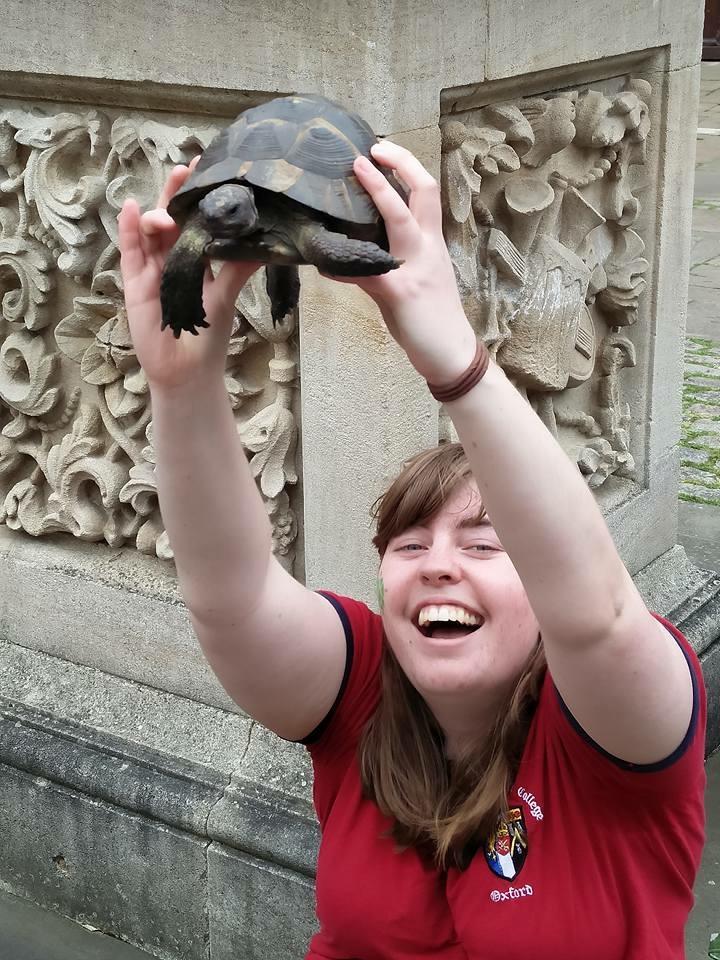 Beth Graham holding tortoise
